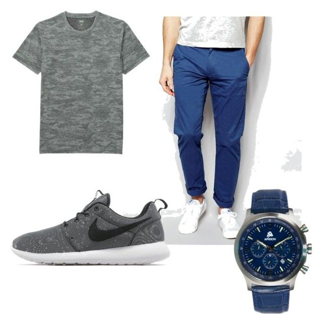 """Untitled #6"" by x-anna-a on Polyvore featuring Farah, Uniqlo, NIKE, men's fashion and menswear"