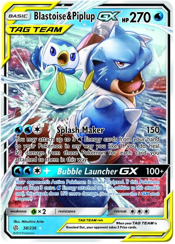 Pokemon Blastoise And Piplup Gx Cosmic Eclipse 38 236 Tag Team Ultra Rare In 2020 Pokemon Cards Legendary Pokemon Blastoise Cool Pokemon Cards