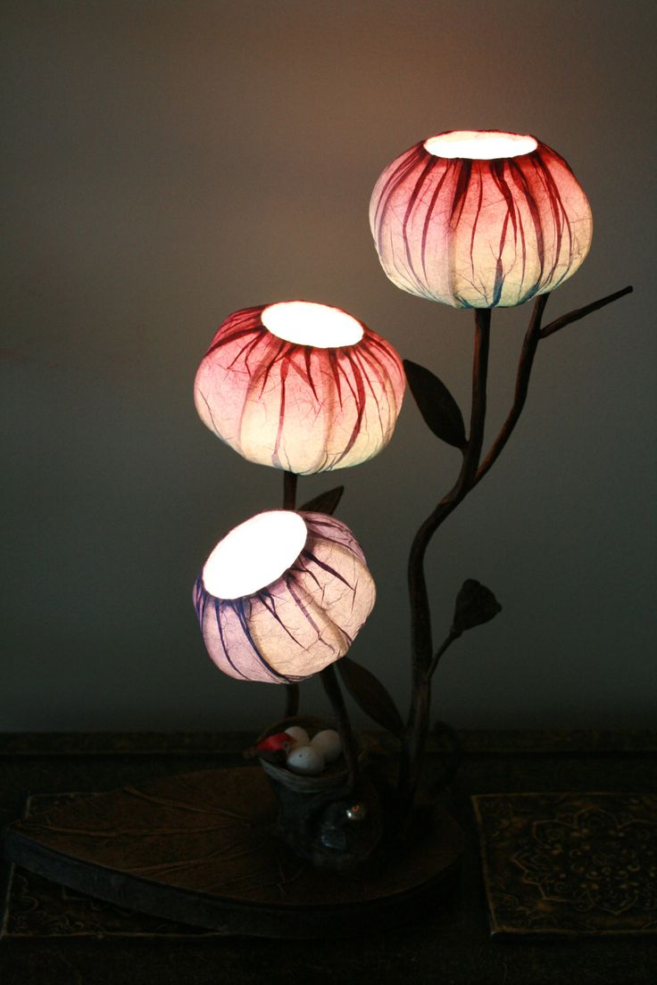 Pink, Peach Custom Hanji Lamp: Three Buds