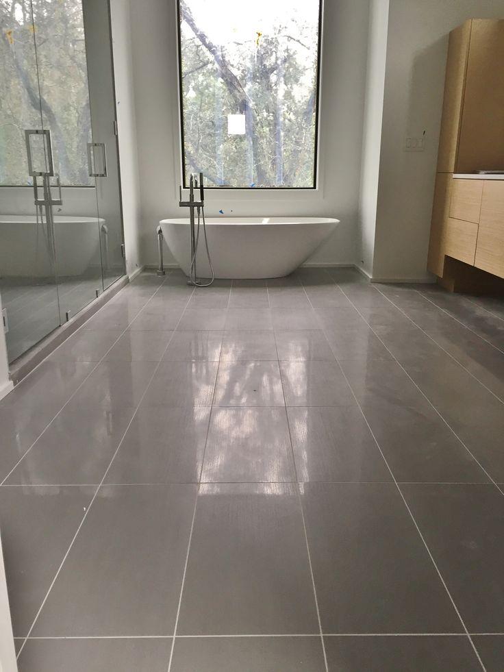 12x24 Porcelain Tile On Master Bathroom Floor Tile