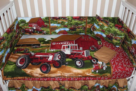 Farmall Tractor Bed Set : Farmall piece crib bedding set by deltaannscreations on