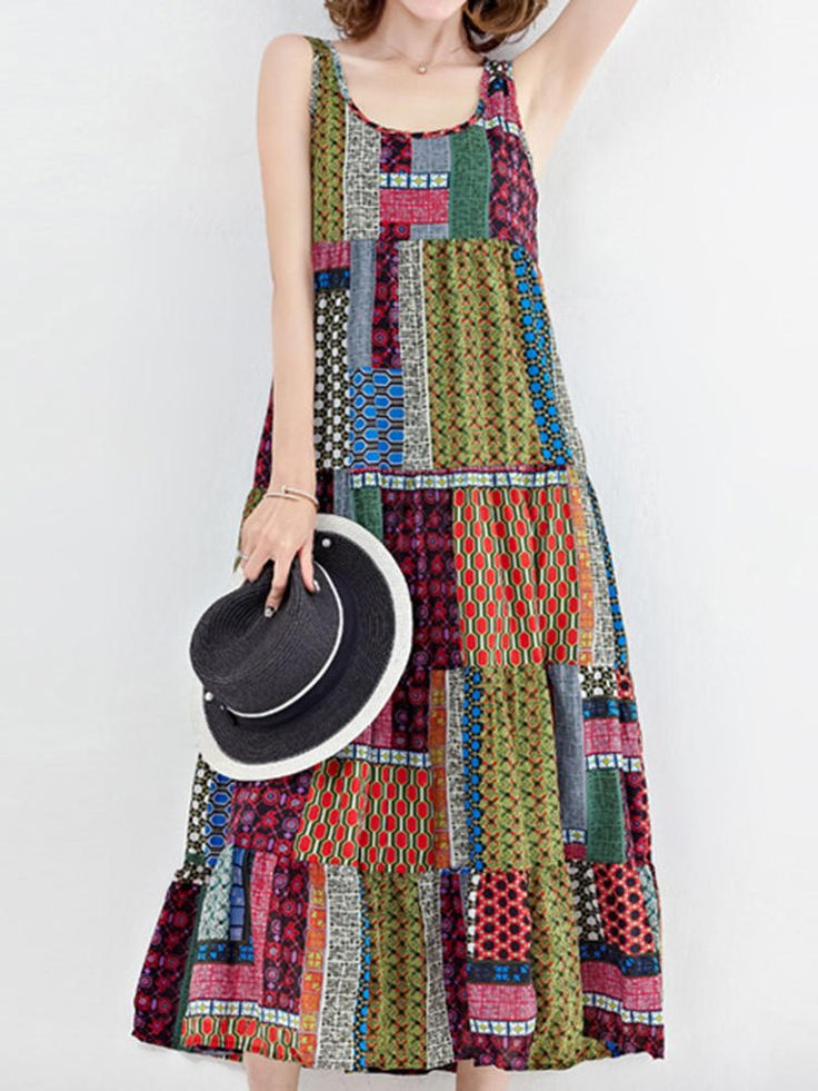 M-5XL Bohemian Patchwork Tank Dress at Banggood