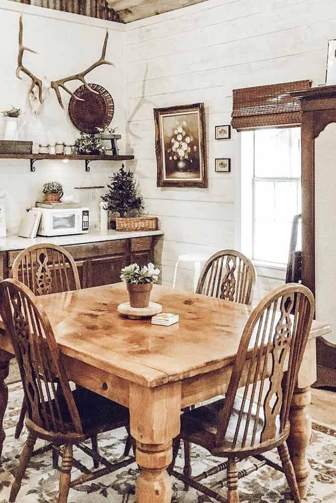 27 Popular Farmhouse Table Ideas To Use In The Decor Rustic Table And Chairs Country House Decor Home Decor