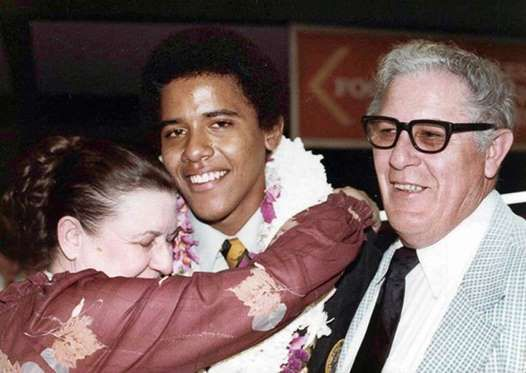 "Obama returned to Honolulu in 1971 to stay with his maternal grandparents, Stanley Armour Dunham (R) and Madelyn Payne (L). His grandmother nicknamed him ""Bear."" - AP"