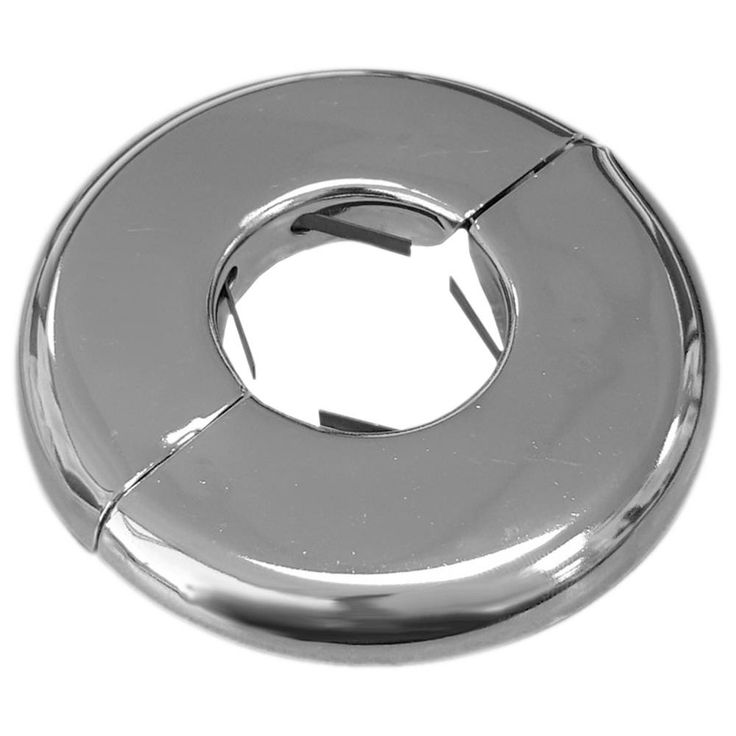 1-1/4 in. Iron Pipe Size Heavy Duty Floor and Ceiling Plate in Chrome (Grey)