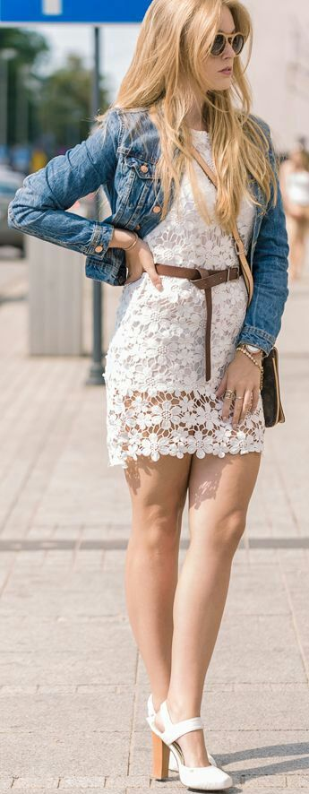 Perfect outfit, stunning white dress and crop denim jacket