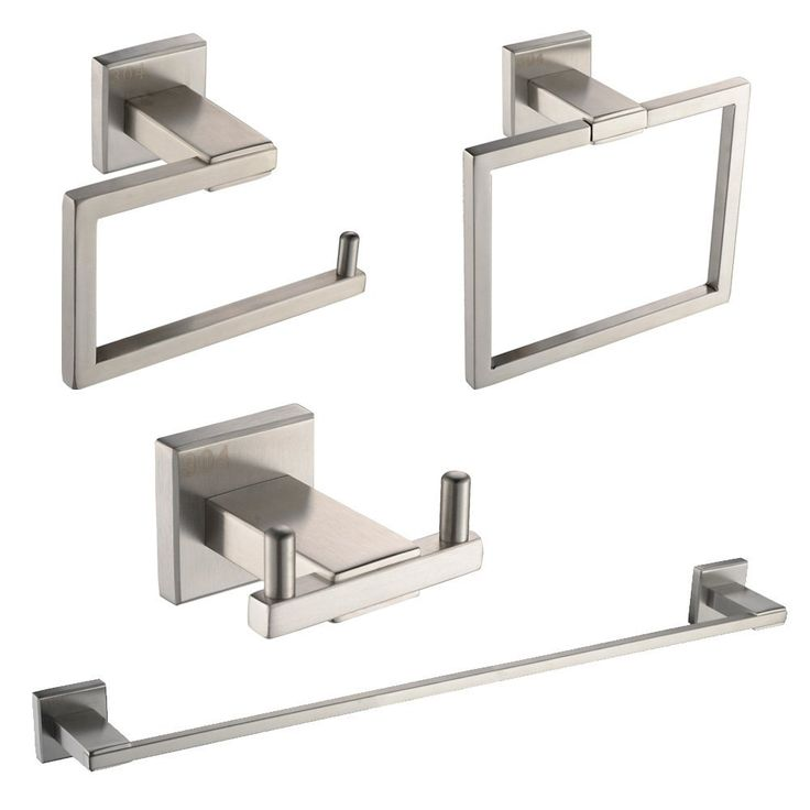 Amazon.com: KES SUS 304 Stainless Steel 4-Piece Bathroom Accessory Set RUSTPROOF Including Towel Bar Toilet Paper Holder Towel Ring Double Robe Hook Wall Mount Contemporary Square Style, Brushed Finish, LA242-42: Health & Personal Care