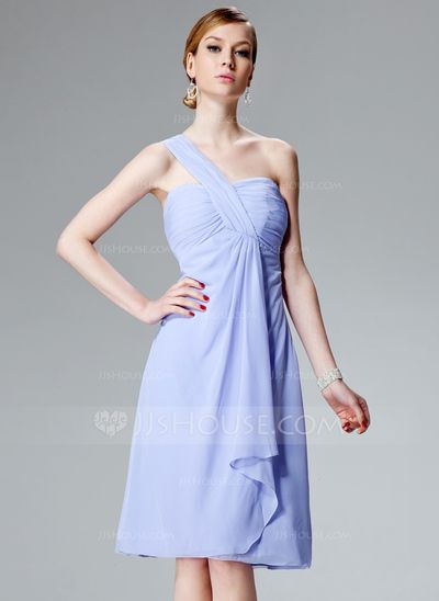 Bridesmaid Dresses - $92.99 - Empire One-Shoulder Knee-Length Chiffon Bridesmaid Dress With Ruffle (007004081) http://jjshouse.com/Empire-One-Shoulder-Knee-Length-Chiffon-Bridesmaid-Dress-With-Ruffle-007004081-g4081?pos=ultimately_buy_5