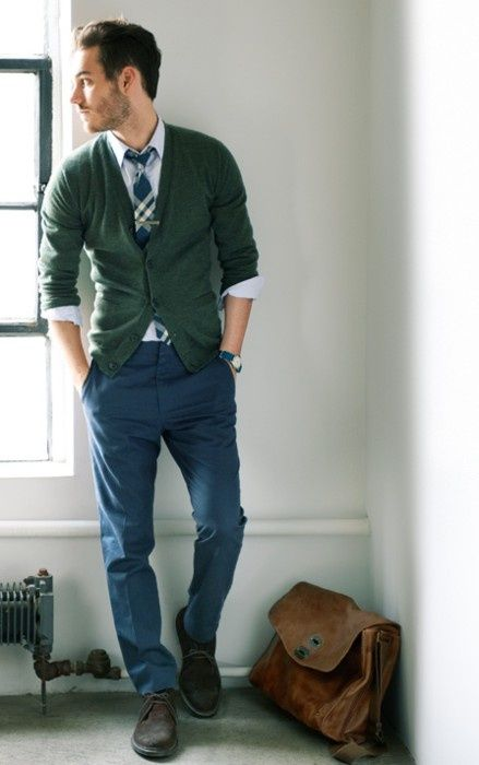 Green Cardigan Navy Blue Chinos White Rock Shirt Tartan Tie Brown Suede Shoes | Menu0026#39;s ...