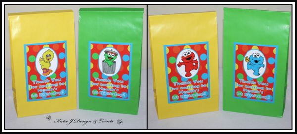 Sesame Street Party Bags #Sesame #Street #Personalised #Party #Decorations #Baby #Cute #Shower #Elmo #Oscar #TheGrouch #Cookie #Monster #Unisex #Shower #Birthday #Bunting #Party #Ideas #Banners #Cupcakes #WallDisplay #PopTop #JuiceLabels #PartyBags #Invites #KatieJDesignAndEvents #Creative