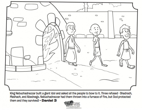 Shadrach meshach and abednego bible coloring pages for Daniel and the fiery furnace coloring page
