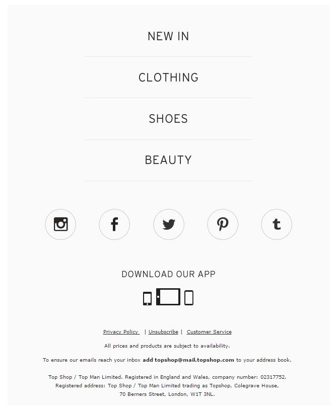 Top Shop email footer 2016                                                                                                                                                                                 More