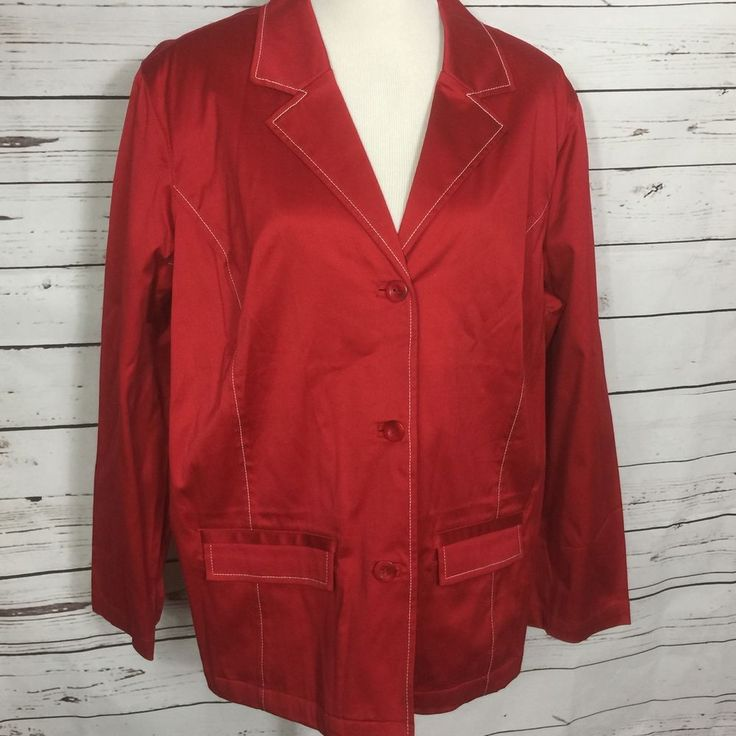 New Appleseeds Womens Light Coat Unlined Jacket Red Cotton Spandex Plus Sz 20W  #Appleseeds #BasicJacket #CasualWork