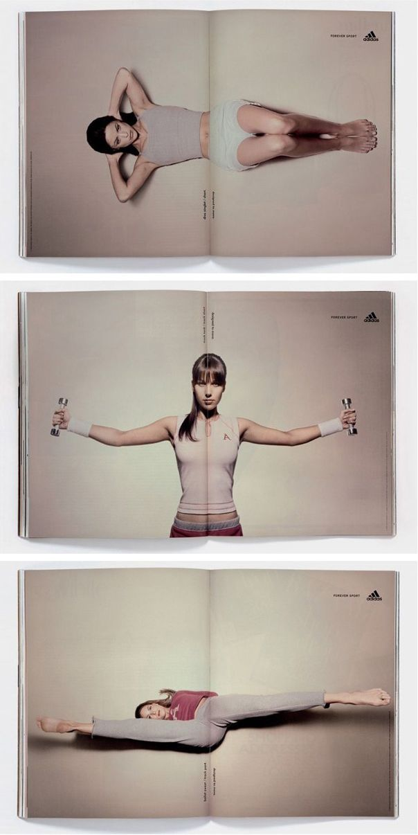 Adidas: Forever Sport double page ads . smart idea . magazine . guerriglia . interactive