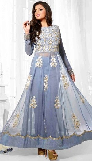 Drashti Dhami Poly Georgette Gray Beautiful Palazzo Style Anarkali Suit With Chiffon Dupatta
