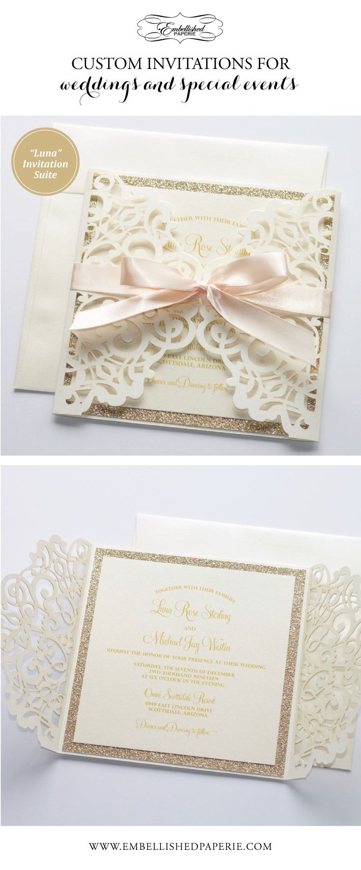 Lace Wedding Invitation Elegant Wedding Invite