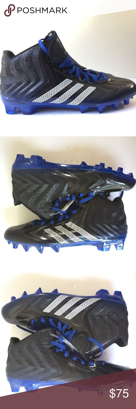 NWT Adidas Football Crazy Quick Mid Cleats Sneaker NWT No Box Adidas Football Crazy Quick Mid Cleats Shoes Sneakers Men's size 14 Black Blue UPC 887383496244 SKU C18 adidas Shoes Sneakers