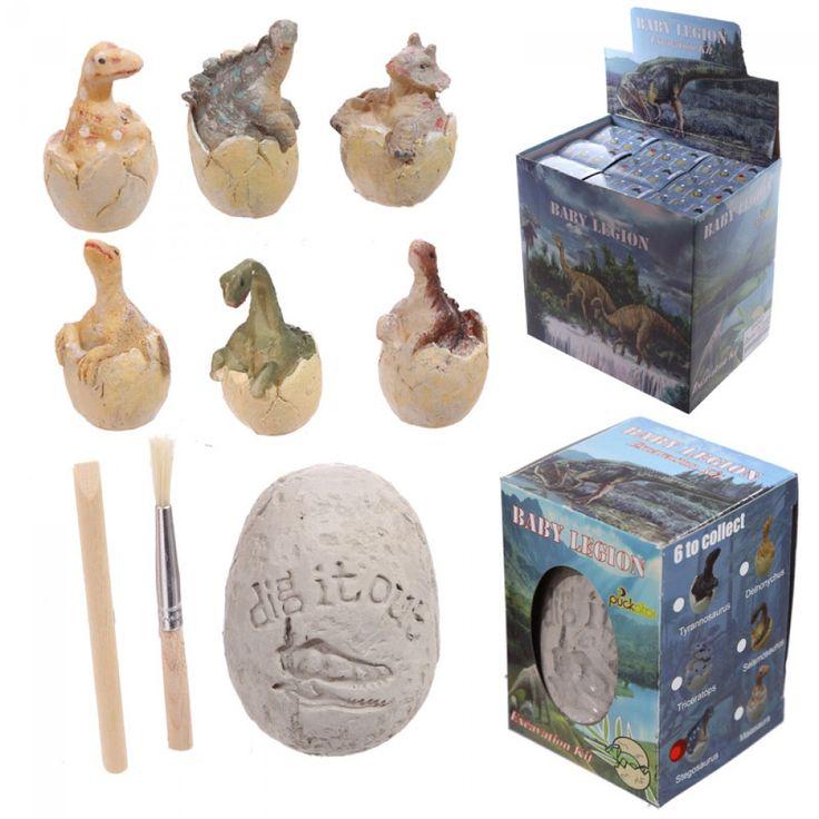 Dinosaur udgravnings sæt med dinosaur æg og redskaber. Lad børnene lege arkæologer til børnefødselsdagen med dette sjove dinosaur æg sæt fra Sjovogkreativ.dk