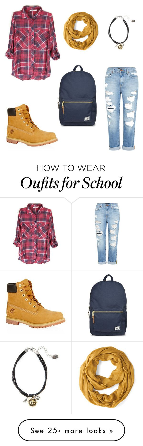 """"""" Fall school outfit """" by thearctic on Polyvore featuring Genetic Denim, Timberland and Herschel Supply Co."""