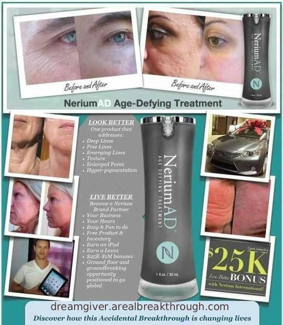 Nerium International is giving thousands nationwide an opportunity to look better and live better. 30% of the skincare revenue is recycled back into our partner Nerium Biotechnology to fund ongoing research www.dreamgiver.arealbreakthrough.com