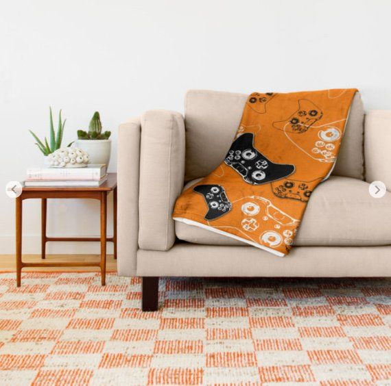 Gamer Blanket, Gaming Bedroom, Orange Throw Blanket, Video Game Room, Gamer Room, Gaming Gifts for H #gamerroom Gamer Blanket, Gaming Bedroom, Orange …