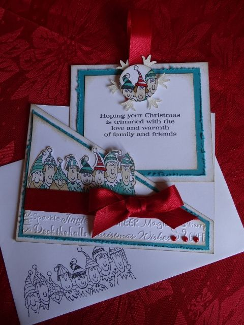 using Holiday LIne up stamp set from Stampin Up