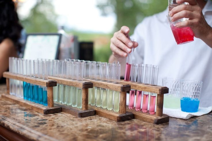 """""""test tube"""" shots at cocktail hour for a chemistry themed wedding!!"""
