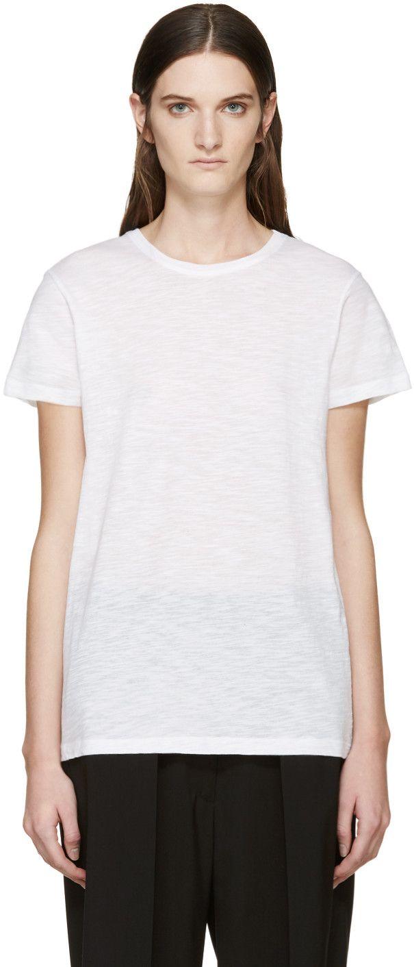 Proenza Schouler: White Slub Cotton T-Shirt | SSENSE