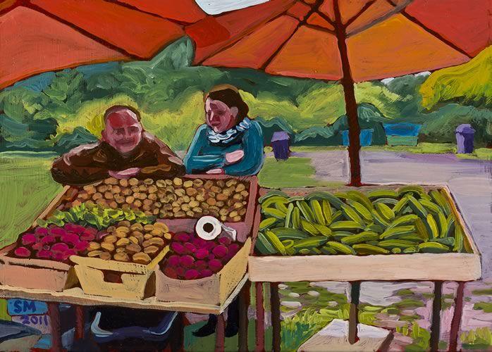 Maple Рок Ферма на рынке, 2011, картина маслом штата Вашингтон художника Сьюзан Горчица