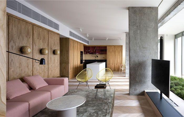One Bedroom Apartment With Open Floor Plan Apartment Interior Design Apartment Design Concrete Apartment One bedroom interior design