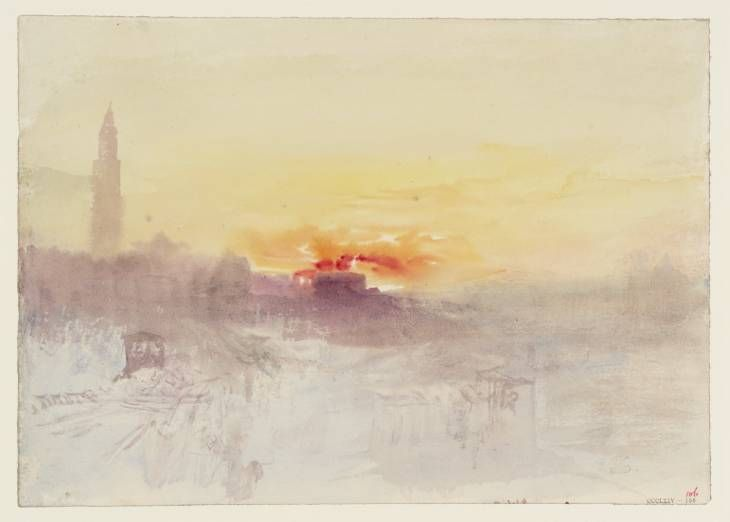 Joseph Mallord William Turner, 'Venice at Sunrise from the Hotel Europa, with the Campanile of San Marco' c.1840