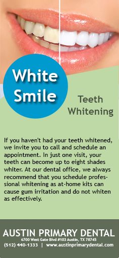 In just one visit, your teeth can become up to eight shades whiter. #BrightSmile #TeethWhitening #WhiteTeeth #Dentist