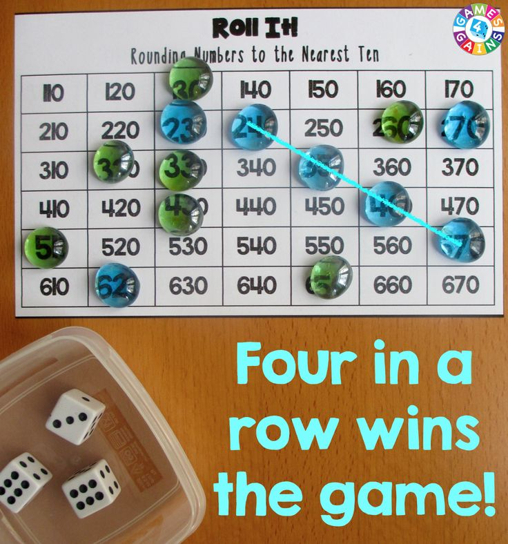 Players win this Roll It! Rounding Game by getting four in a row!