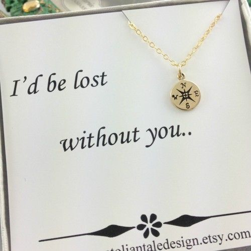 Compass Necklace, , Best Friend Gift, Gold Compass, Birthday Gift,