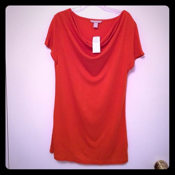 NWT Banana Republic Orange short sleeve top This is a brand new top from Banana Republic. Bought this 2 years ago and never wore it. This is made of 100% Viscose. It's quite lightweight so it's great to wear in hot summer weather. Banana Republic Tops