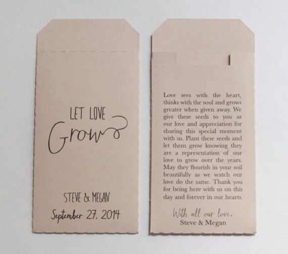 Probably cant take seeds to Phuket, but thought great idea. Custom Printed Cream Wedding Favor Seed Packet Envelopes - Many Colors Available