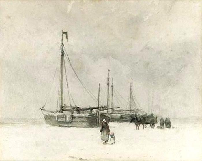Anton Mauve - Bomschuiten op het strand in de winter.