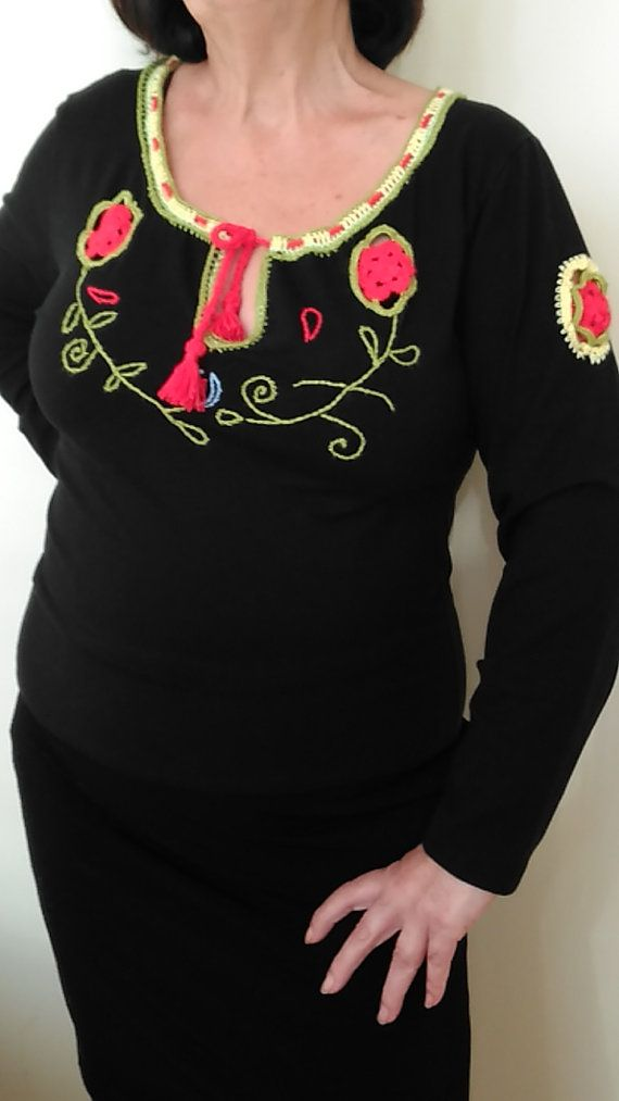 Black Embroidered Cotton Top, Long Sleeve Blouse    Rustic Bohochic Sweater    Women Clothing Large Size