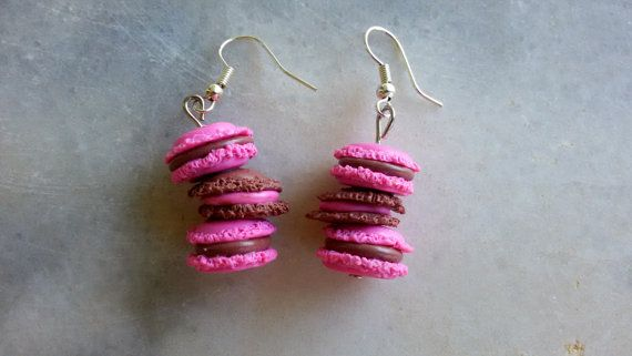 Macarons Tower Hook Earrings Mini Food Handmade by jewelryfoodclay