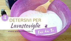 detersivo lavastoviglie fai da te. Possiamo usare aceto, limone, acido citrico, sale, bicarbonato. Per il brillantante...