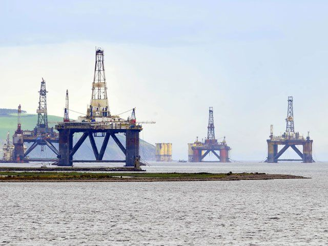 Some of the North Sea's  oil rigs and platforms photographed in the Cromarty Firth, near Invergordon and the Nigg yard