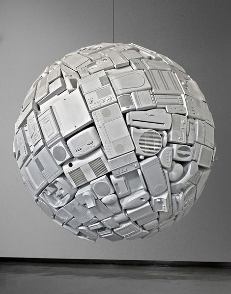 """White Dwarf (2012) by artist An Te Liu is """"a floating orb composed of obsolete domestic artifacts. Its title comes from the term given to dying stars in our galaxy — those which have lost their energy and imploded into degenerate matter."""" Via MAS=MORE."""