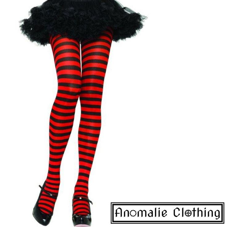 Red & Black Striped Tights