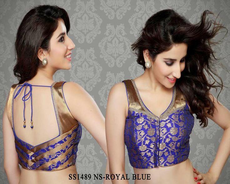 Royal Blue Jamevar Fabric Saree Blouse http://rajasthanispecial.com/index.php/royal-blue-jamevar-fabric-saree-blouse.html