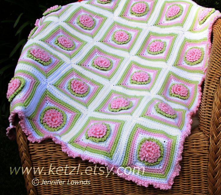 Crochet Pattern Baby Blanket Afghan Bunny Rug with Chrysanthemum Flowers. $4.89, via Etsy.