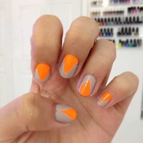 try orange and nude colored nails!! mani diynails