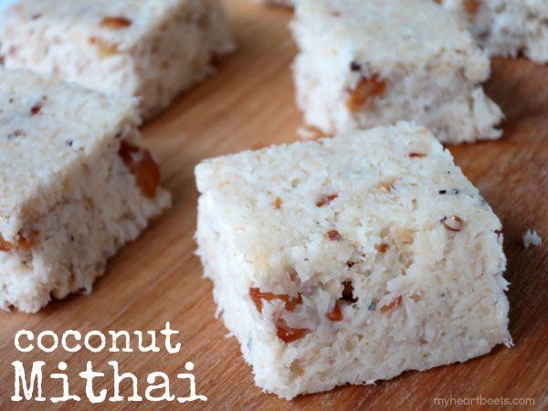 Coconut Mithai aka coconut fudge. A sweet, easy to make treat - myheartbeets.com