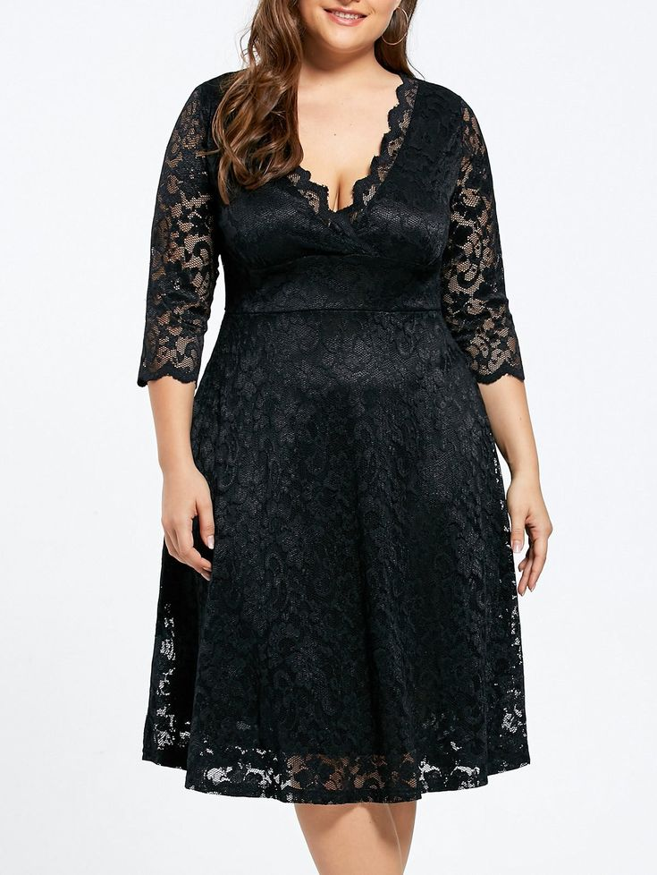 $14.21--Knee Length Plus Size Formal V-neck Lace Dress - BLACK 4XL Mobile