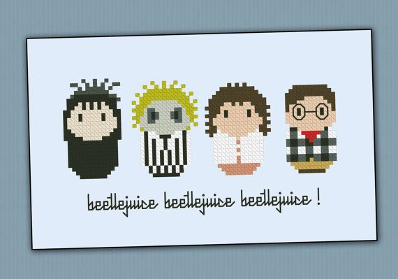 Beetlejuice chibi - PDF cross stich pattern via Etsy