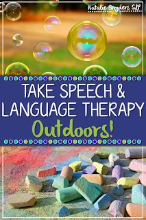 Want to take your speech-language therapy outside? Here are some easy ways to incorporate common goals with chalk and bubbles from Natalie Snyders!